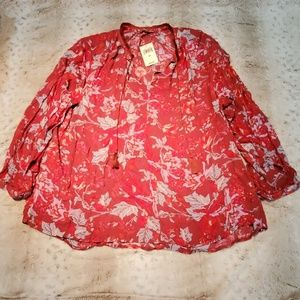 Lucky Brand Long Red Leaf Print Peasant Blouse
